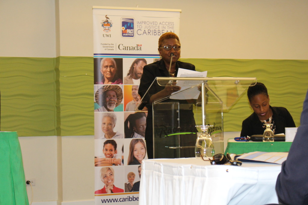Prof. Velma Newton, Regional Project Director of IMPACT Justice addressing participants of the seminar